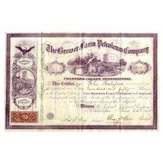 1865 Brewer Farm Petroleum Co Stock Certificate