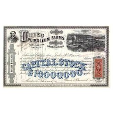 1870 United Petroleum Farms Association Stock Certificate