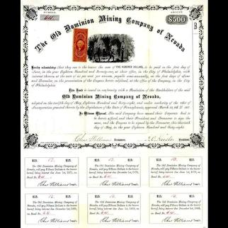 1868 Old Dominion Mining Co of Nevada Bond