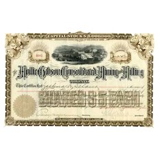 1893 Mollie Gibson Consolidated Mining & Milling Stock signed by Percy Hagerman