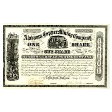 1855 Alabama Copper Mining Stock