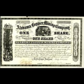 1855 Alabama Copper Mining Stock