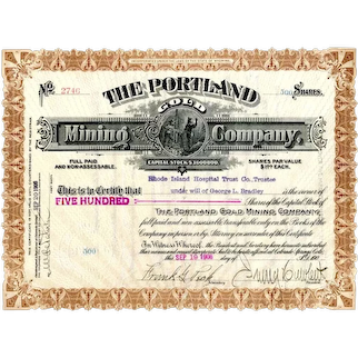 1906 Portland Gold Mining Stock signed by Peck