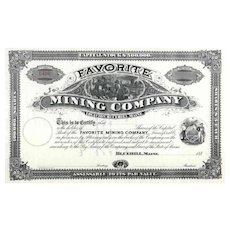 188_ Favorite Mining Co Stock Certificate