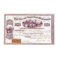 1865 Lick Run & Sugar Creek Oil Stock Certificate