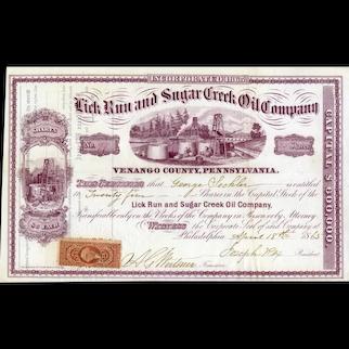 1865 Lick Run & Sugar Creek Oil Stock Certificate