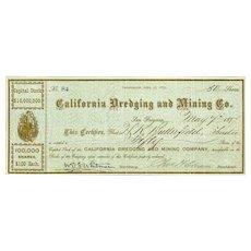 1877 California Dredging & Mining Stock Certificate