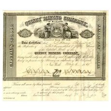 1861 Quincy Mining Co Stock Certificate