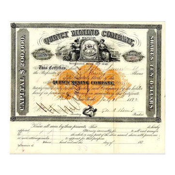 1872 Quincy Mining Co Stock with RN-U1 Imprinted Revenue Stamp