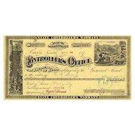 1880s Nevada Warrant - Nice vignettes