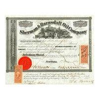 1865 Sherman & Barnsdall Oil Co Stock Certificate