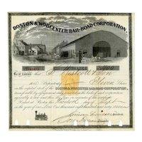 1866 Boston & Worcester RR Stock Certificate -- RN-T4 Revenue