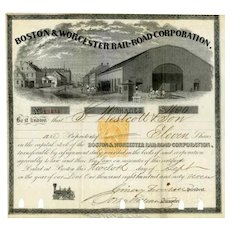 1866 Boston & Worcester RR Stock Certificate -- RN-T4 Revenue