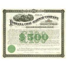 1881 Indiana Coal & Railway Co Bond Certificate