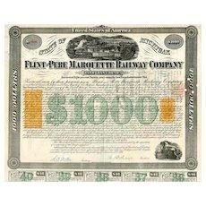 1868 Flint & Pere Marquette RW Bond Certificate