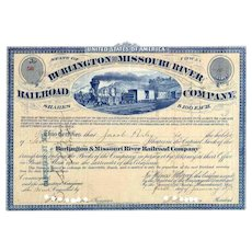 1873 Burlington & Missouri River RR Stock Certificate