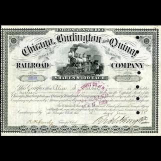 1888 Chicago Burlington & Quincy RR Stock Certificate