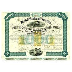 1866 Boston Hartford & Erie $1000 Bond signed J. Eldridge