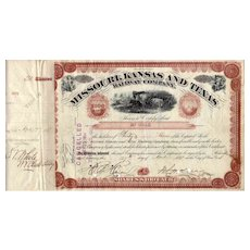 1881 Missouri Kansas & Texas RR Stock Certificate signed by Jay Gould