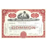 Early 1950s Lionel Corp Stock Certificate -- first version, boy with train