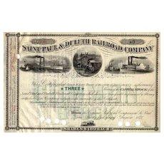 1878 Saint Paul & Duluth RR Stock Certificate