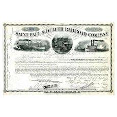 1886 Saint Paul & Duluth RR Stock Certificate