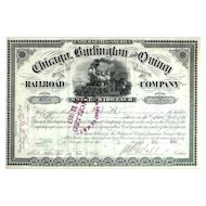 1890s Chicago Burlington & Quincy RR Stock Certificate