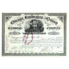 1890s Chicago Burlington & Quincy RR Stock Certificate