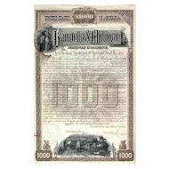 1890 Kanawha & Michigan RW Bond Certificate