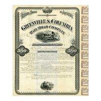 1875 Greenville & Columbia RR Bond