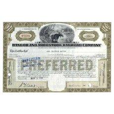 1940s Bangor & Aroostook RR Stock Certificate