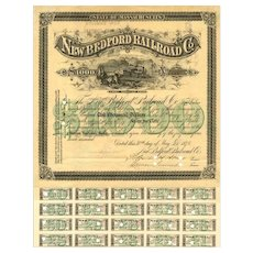 1876 New Bedford RR Bond Certificate