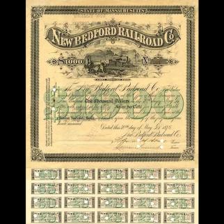 1876 New Bedford RR Bond Certificate