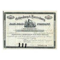 1884 Gettysburg & Harrisburg RR Stock Certificate