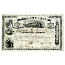 1855  Mississippi & Missouri Stock Certificate signed by John Dix