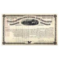 187_ Indianapolis Cincinnati & Lafayette RR Stock Certificate