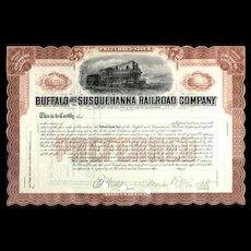 Unissued Buffalo & Susquehanna RR Stock Certificate