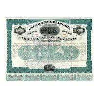 1873 Chicago Saginaw & Canada RR Bond