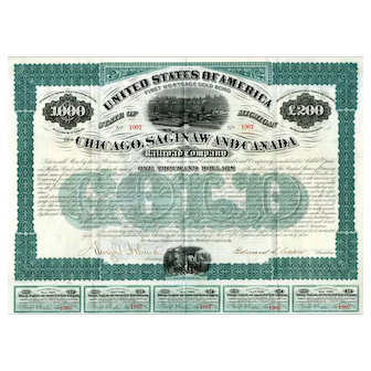 1873 Chicago Saginaw & Canada RR Bond