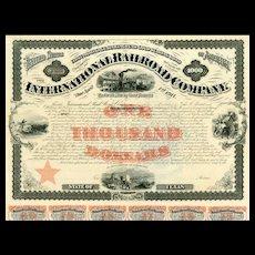 1871 International Railroad Co Bond Certificate