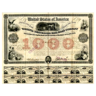 1853 Virginia & Tennessee RR bond