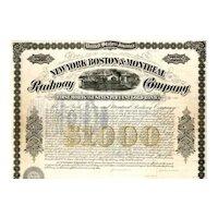 1873 New York Boston & Montreal RW Bond