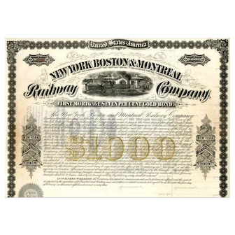 1873 New York Boston & Montreal RW Bond