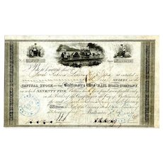 1835 Baltimore & Ohio RR Stock Certificate