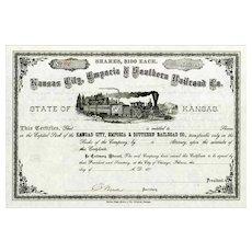 187_ Kansas City Emporia & Southern RR Stock Certificate
