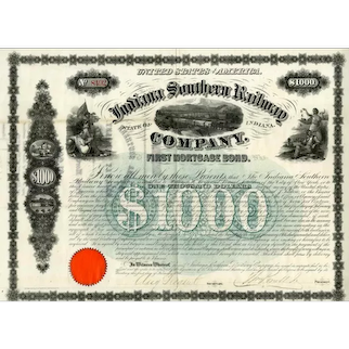 1866 Indiana Southern RW Bond signed by Samuel Tilden