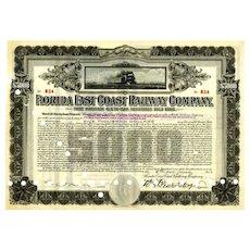 1924 Florida East Coast RW $5000 Bond
