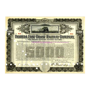 1924 Florida East Coast RW $5000 Bond