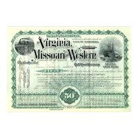 1891 Virginia Missouri & Western RR Stock