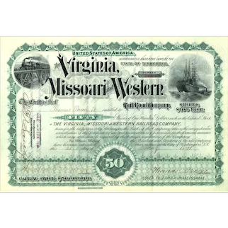 1891 Virginia Missouri & Western RR Stock